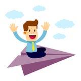 Homme d'affaires Fly On un avion de papier Photo libre de droits