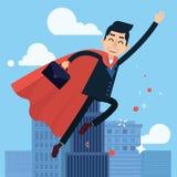 Homme d'affaires Flying de super héros à travailler illustration de vecteur