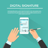 Homme d'affaires futé de téléphone portable de signature digitale illustration de vecteur