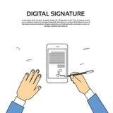 Homme d'affaires futé Hands Sign Up de téléphone portable de signature digitale Image libre de droits