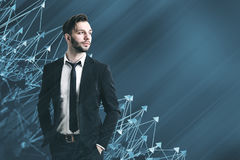 Homme d'affaires géométrique abstrait de vert bleu de modèle Image stock