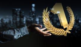 Homme d'affaires gagnant le premier rendu d'or des prix 3D Photos libres de droits