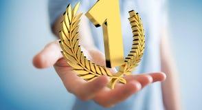 Homme d'affaires gagnant le premier rendu d'or des prix 3D Photo stock