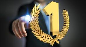 Homme d'affaires gagnant le premier rendu d'or des prix 3D Photographie stock