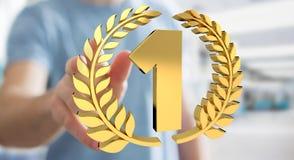 Homme d'affaires gagnant le premier rendu d'or des prix 3D Photographie stock libre de droits