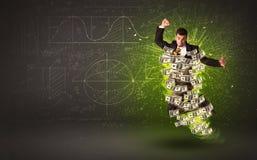 Homme d'affaires gai sautant avec des billets de banque du dollar autour de lui Photos stock