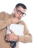 Homme d'affaires gardant le cas protecteur Images stock