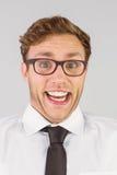 Homme d'affaires Geeky regardant l'appareil-photo Image libre de droits