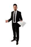 Homme d'affaires grand attendant un client pour signer un contrat Photographie stock