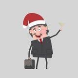 Homme d'affaires grillant avec le champagne pour Noël 3d Photo stock