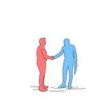 Homme d'affaires Hand Shake, concept de deux silhouettes d'accord de poignée de main d'homme d'affaires Image libre de droits