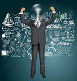 Homme d'affaires With Hands Up de tête de lampe de vecteur Photo libre de droits