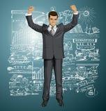 Homme d'affaires With Hands Up 07 de vecteur Photo stock