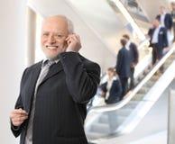 Homme d'affaires heureux à l'appel téléphonique Photos stock