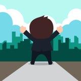 Homme d'affaires heureux à la bande dessinée de succès Image stock