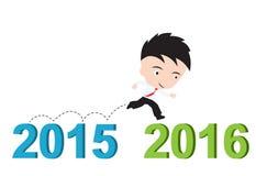 Homme d'affaires heureux au fonctionnement à partir de 2015 à 2016, concept de succès de nouvelle année, présenté sous la forme Images stock
