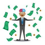 Homme d'affaires heureux avec l'argent entrant dans l'air Illustration de dessin animé Image stock