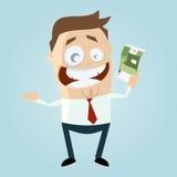 Homme d'affaires heureux avec l'euro facture illustration libre de droits