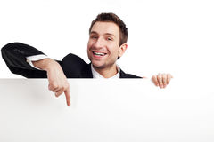 Homme d'affaires heureux avec le signe Photographie stock libre de droits