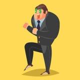 Homme d'affaires heureux criant le chef heureux de crabots mignons effrontés de personnage de dessin animé de fond a isolé le bla Photos stock