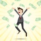 Homme d'affaires heureux de bande dessinée sautant avec l'argent Image libre de droits