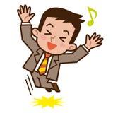 Homme d'affaires heureux de sauter illustration de vecteur