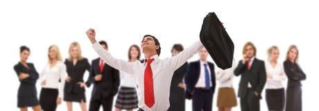 Homme d'affaires heureux et son équipe Photos stock