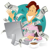 Homme d'affaires heureux gagnant l'argent sur l'Internet Photo stock