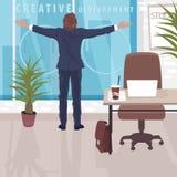 Homme d'affaires heureux près de fenêtre panoramique dans le bureau illustration libre de droits