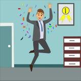 Homme d'affaires heureux sautant dans son bureau illustration de vecteur