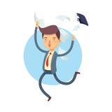 Homme d'affaires heureux Throw His Bag loin Photographie stock libre de droits