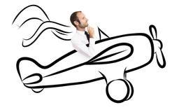Homme d'affaires heureux volant haut Photo stock
