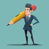 Homme d'affaires Holding Big Pencil de bande dessinée Photographie stock libre de droits