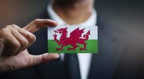Homme d'affaires Holding Card de drapeau du Pays de Galles photos stock