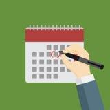 Homme d'affaires Holding Pen et Mark The Date sur le calendrier illustration de vecteur