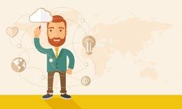 Homme d'affaires illustrant son plan d'action illustration de vecteur