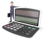 Homme d'affaires Indicates Entrepreneur Earnings de calculatrice et figures rendu de 3d Photographie stock