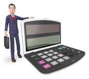 Homme d'affaires Indicates Executive Calculation de calculatrice et rendu de l'entrepreneur 3d Photographie stock