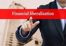 Homme d'affaires indiquant le concept financier de libéralisation Photo libre de droits