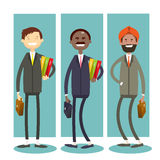 Homme d'affaires intégral Team de course de mélange de Man Group d'affaires ethniques Photographie stock