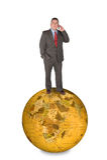 Homme d'affaires international sur le téléphone portable Image stock