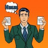Homme d'affaires irrésolu Making Decision Homme jugeant des cartes oui aucune Art de bruit illustration libre de droits