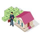 Homme d'affaires isométrique Bank Cash d'icône illustration stock