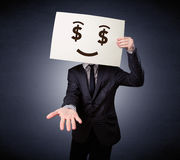 Homme d'affaires jugeant de papier avec émotion avide Images stock