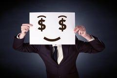 Homme d'affaires jugeant de papier avec émotion avide Photos libres de droits