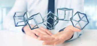 Homme d'affaires jugeant un cube en blockchain du rendu 3d d'isolement sur a Image libre de droits