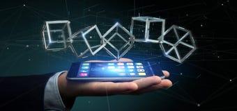 Homme d'affaires jugeant un cube en blockchain du rendu 3d d'isolement sur a Photo libre de droits
