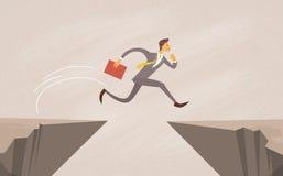 Homme d'affaires Jump Over Cliff Gap Mountain illustration de vecteur