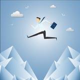 Homme d'affaires Jump Over Cliff Gap Mountain illustration libre de droits