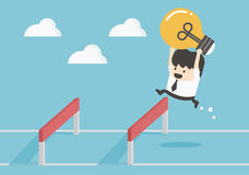 Homme d'affaires Jumping Over Hurdle illustration stock